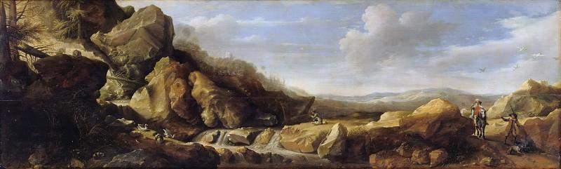 Хондекутер, Гиллис Клас де (ок1575-1638) - Горный пейзаж с охотниками. Часть 2
