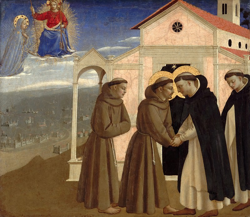 Compagnia di San Francesco Altarpiece, predella - The meeting of St. Dominic and St. Francis. Fra Angelico
