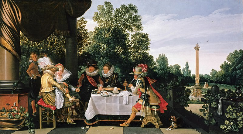 Esaias van de Velde (c.1591-1630) - Merry Company on a Terrace. Part 2
