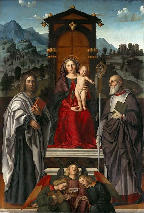Girolamo dai Libri (1474-1555) - Enthroned Madonna and Child with St. Bartholomew and Zeno. Part 2