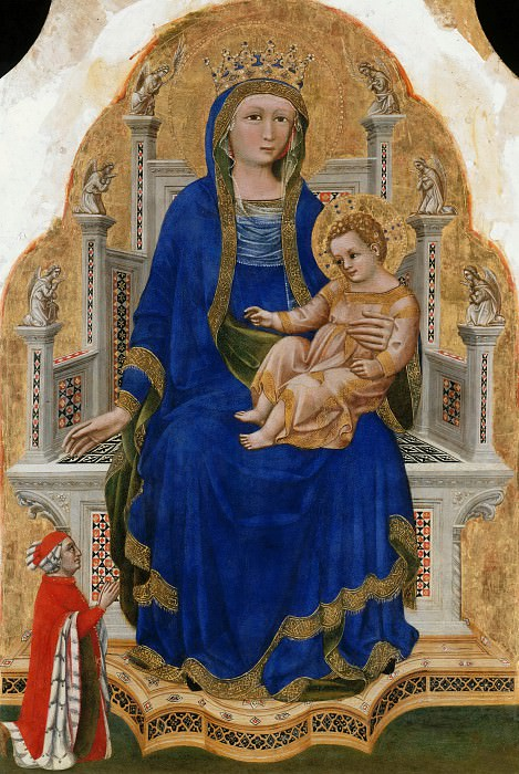 Guariento (active 1338 - 1367-70) - Madonna Enthroned with the blessing child and a donor. Part 2