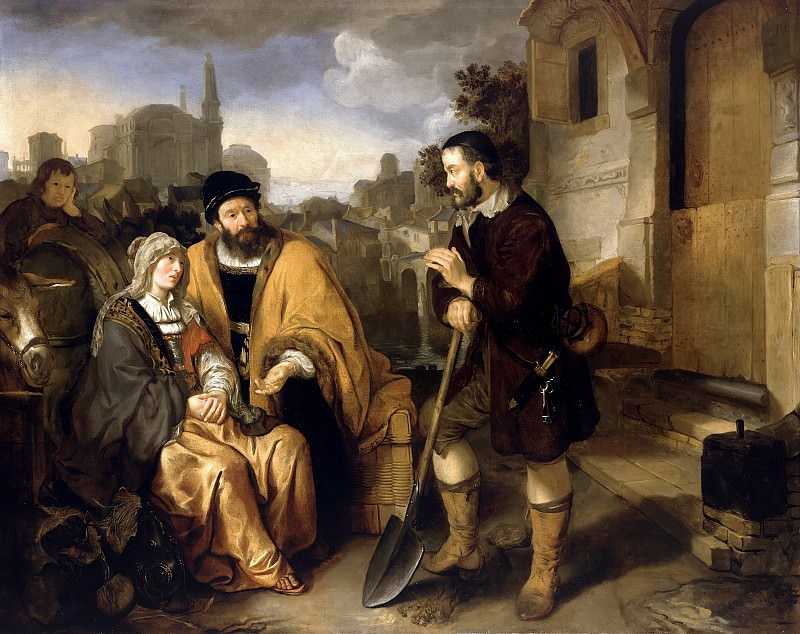 Gerbrand van den Eeckhout (1621-1674) - The field work Gibeah the Levite and his concubine provides accommodation. Part 2