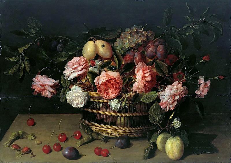 Jacob van Hulsdonck (1582-1647) - Basket with flowers and fruits. Part 2