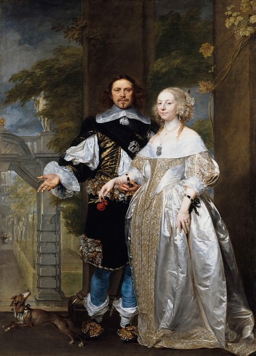 Gonzales Coques (1614-18-1684) - Portrait of a married couple in the park. Part 2