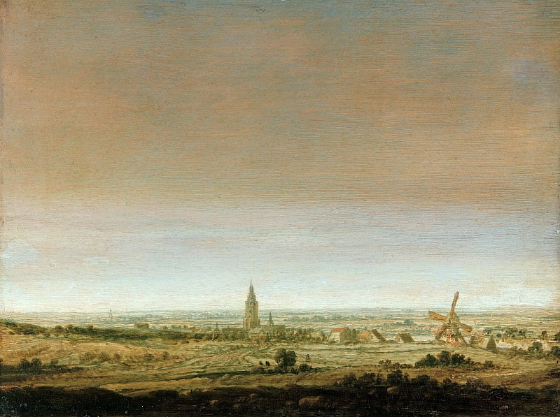 Hercules Seghers (ок1590-1638) - Flat landscape with a town by the river. Part 2