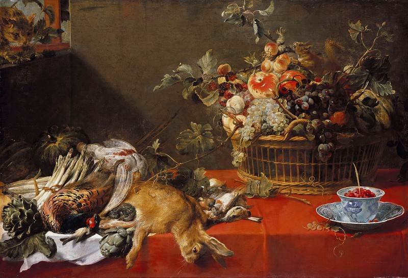 Frans Snyders (1579-1657) - Still Life with hunting prey, fruit basket and vegetables. Part 2
