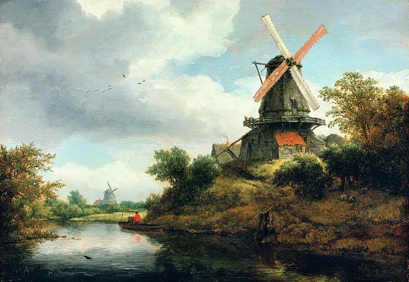 Jacob van Ruisdael (1628-29-1682) - Windmill on the banks of a river. Part 2