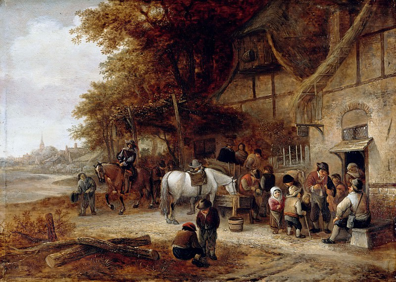 Isaak van Ostade (follower) - Stop at the Village Inn. Part 2