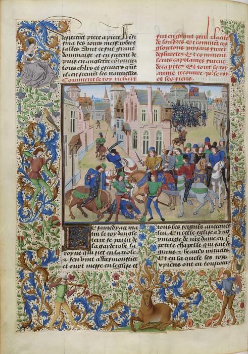 B159L Смерть Уота Тайлера, лидера крестьянского восстания против Ричарда II. Хроники Фруассара