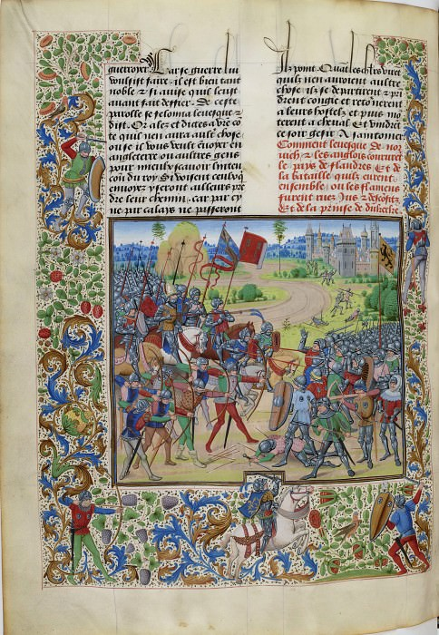 B275L The Battle of Dunkirk in 1383 (Flemings against the British under the command of Henry Dispenser, Bishop of Norwich). Froissart's Chronicles
