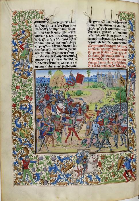 B275L Битва при Дюнкерке в 1383 году (Фламандцы против англичан под командованием Генриха Диспенсера, епископа Норвичского). Хроники Фруассара