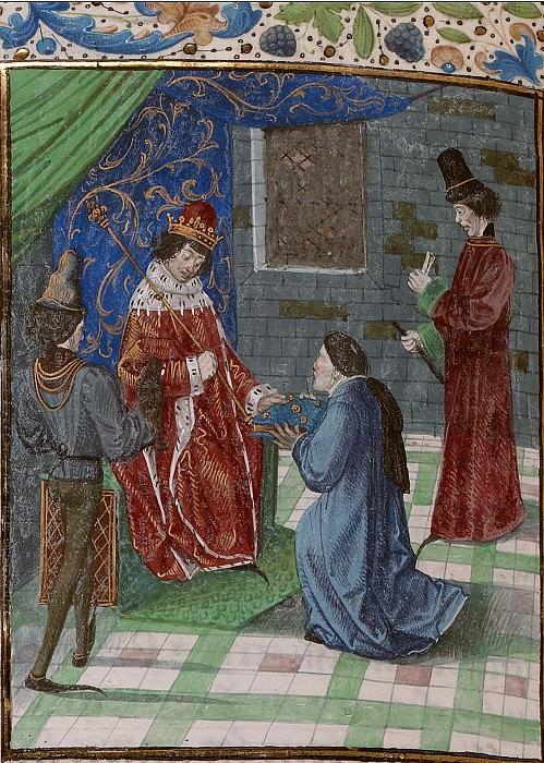D194L Жан Фруассар преподносит свою книгу королю Ричарду II Английскому. Хроники Фруассара