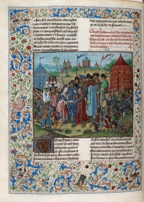 D245L Брачный договор Ричарда II и Изабеллы, дочери Карла VI, в 1396 году. Хроники Фруассара