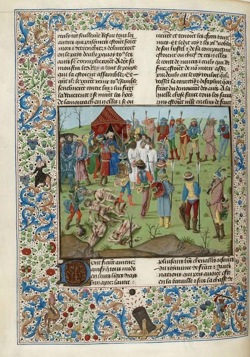 D255L Расправа султана Баязида I над пленными крестоносцами после Никопольского сражения в 1396 году. Хроники Фруассара
