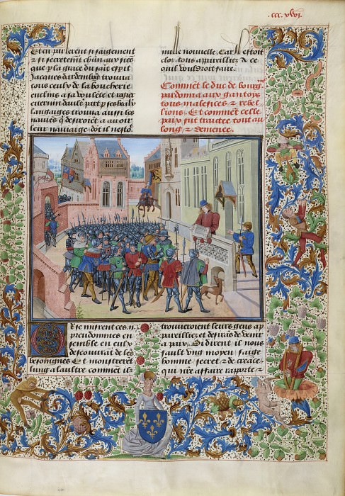 B346R Captain Jean de Eil read the letters to the Gentzes from the letter of Duke of Burgundy Philippe the Bold. Froissart's Chronicles