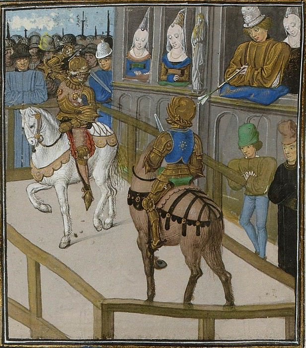 C187R Tournament in Betanzo. The duel between the French knight Reno de Roy and the Englishman John Holland. Froissart's Chronicles