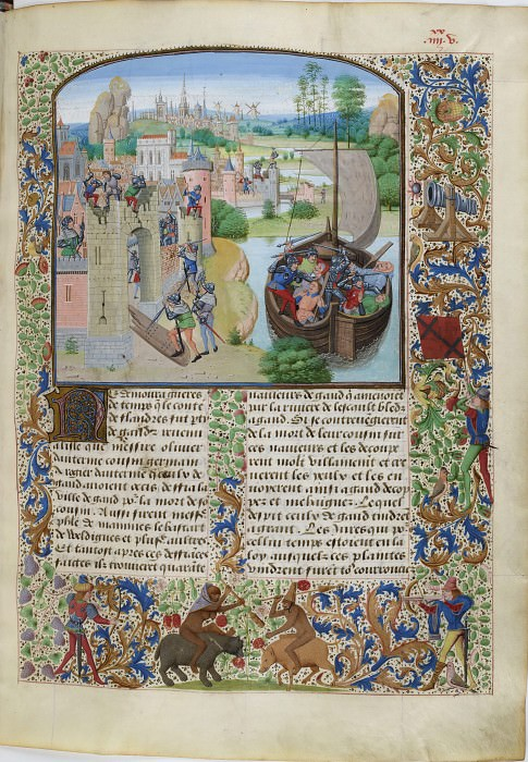 B085R Revenge for the death of Roger Otriv to the inhabitants of Ghent (beating Ghent merchants at the gates of Oudenarde). Froissart's Chronicles