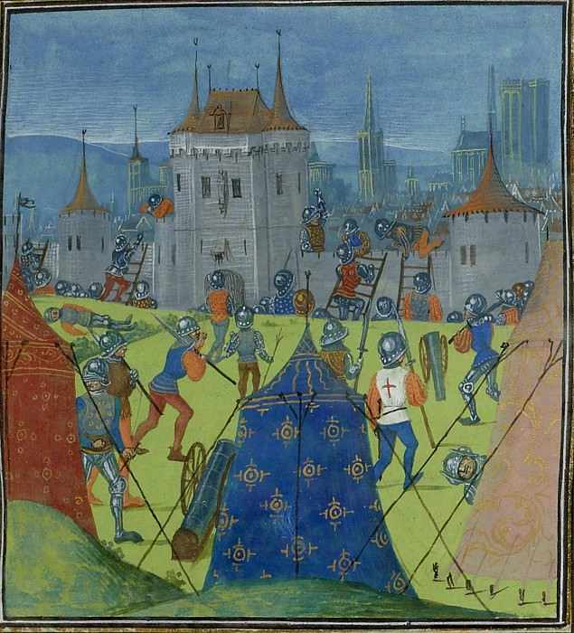 C132R Siege of Roales by English troops in 1387. Froissart's Chronicles