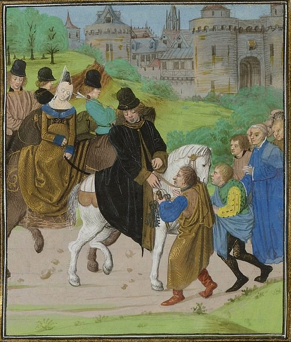 C122R The delivery of Santiago de Compostela to the Duke of Lancaster and his wife in 1386. Froissart's Chronicles