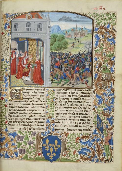 A382R Помазание папы Григория XI в Авиньоне и битва при Понваллене в 1370 году. Хроники Фруассара
