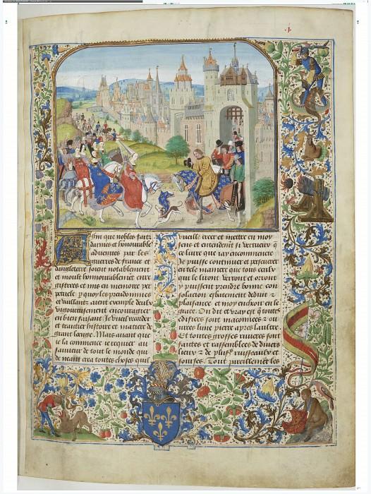 A001R Прибытие Изабеллы Французской, королевы Англии, в Париж и встреча с братом Карлом IV, королём Франции. Хроники Фруассара