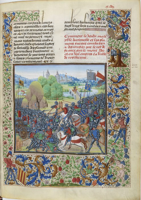 B256R The Battle of Rosebek in 1382 (Flemish townspeople against the troops of King Charles VI of France). Froissart's Chronicles