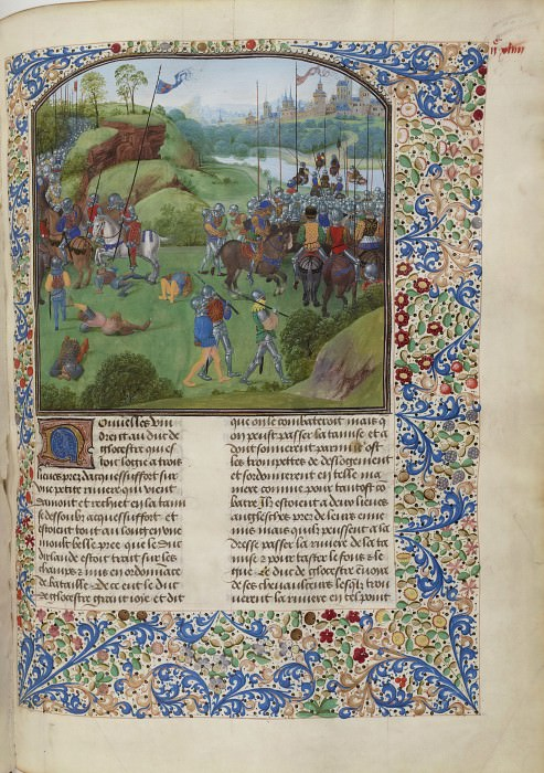 C244R Battle of the Radcot Bridge between the English and the Irish in 1387. Froissart's Chronicles