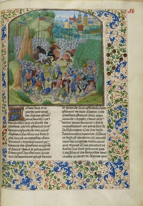 C347R Битва при Оттерберне между англичанами и шотландцами в 1388 году. Хроники Фруассара