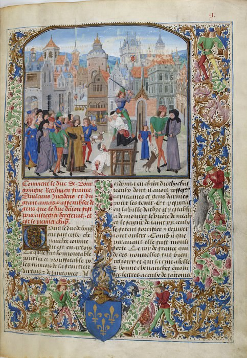 B001R Казнь Гийома Санса, графа Помьерского, и его секретаря Кулона в Бордо по приказу сенешаля Томаса Фельтона. Хроники Фруассара