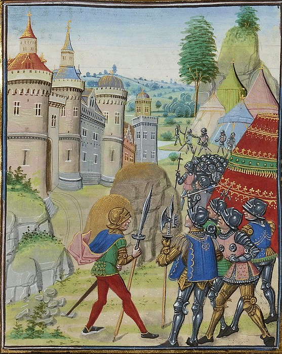 A410R The Siege of Brest by Bertrand du Géclain in 1373. Froissart's Chronicles