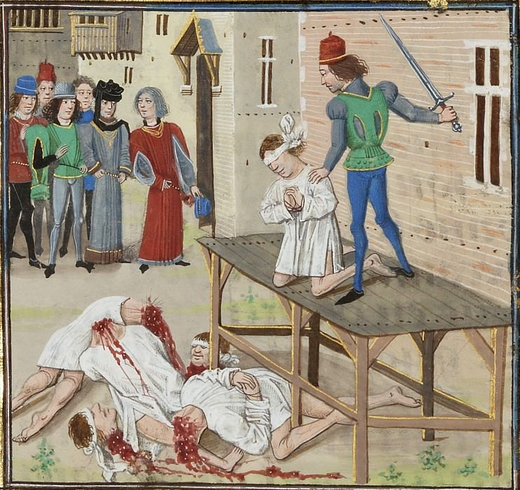 A126R Казнь обвиненных в предательстве Оливье де Клиссона и бретонских рыцарей. Хроники Фруассара