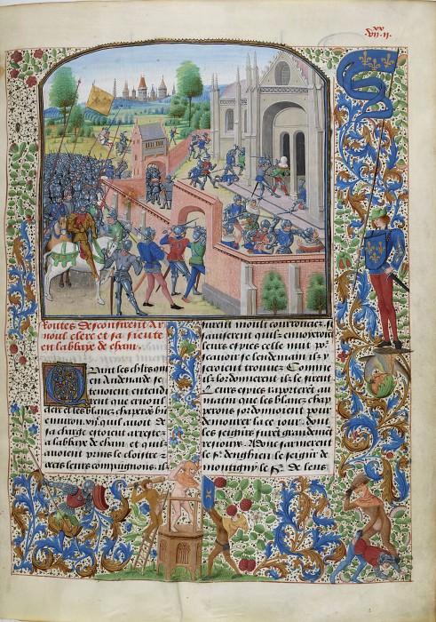 B142R Взятие войсками маршала Гийома IV Энгиенского аббатства Энам в 1381 году. Хроники Фруассара