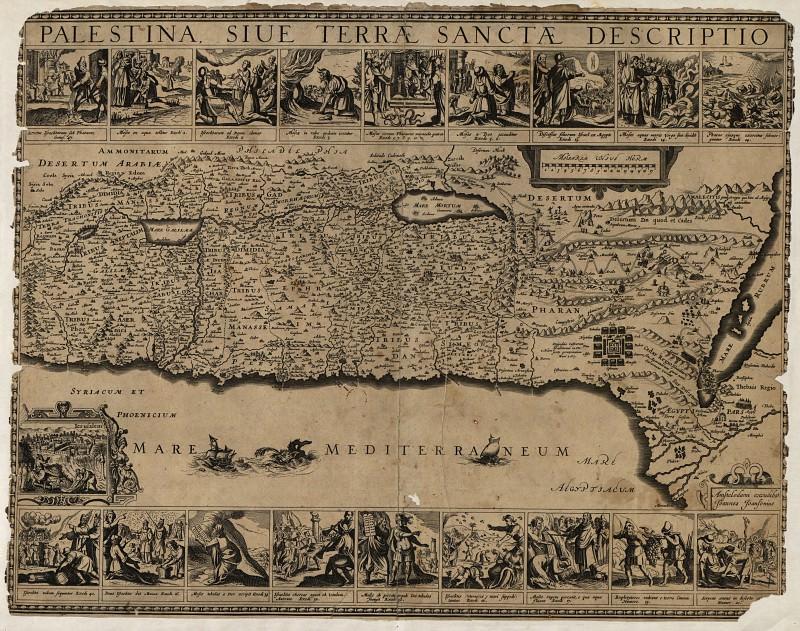 Карта Палестины, 1680. Древние карты мира в высоком разрешении - Старинные карты