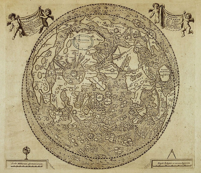 Map of the Moon, 1645. Antique world maps HQ