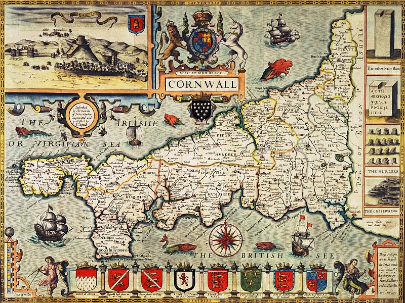 John Speed - Map of Cornwall, 1627. Antique world maps HQ