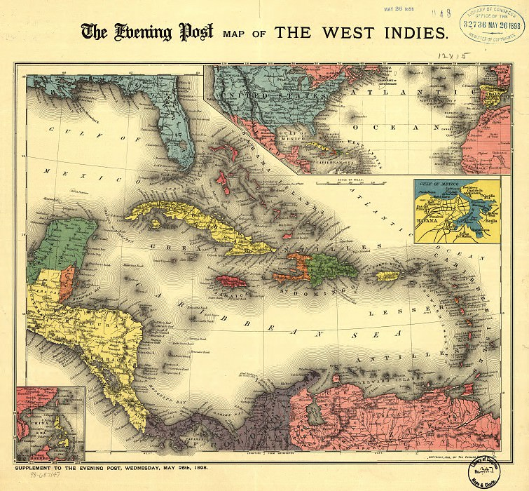 Caribbean Area, 1898. Antique world maps HQ