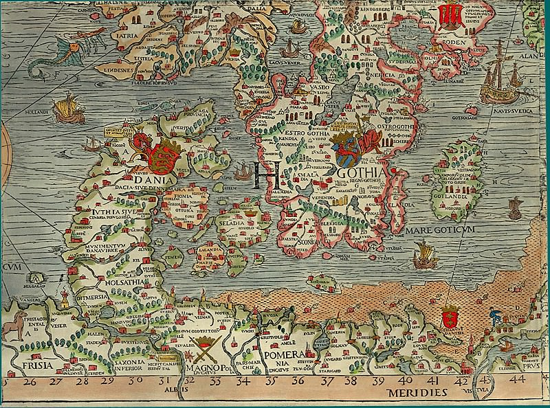 Olaus Magnus - Carta Marina, 1539, Section H: Denmark, Sweden. Antique world maps HQ