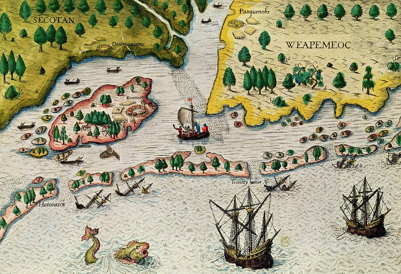 Theodore de Bry - The Arrival Of The English In Virginia. Antique world maps HQ