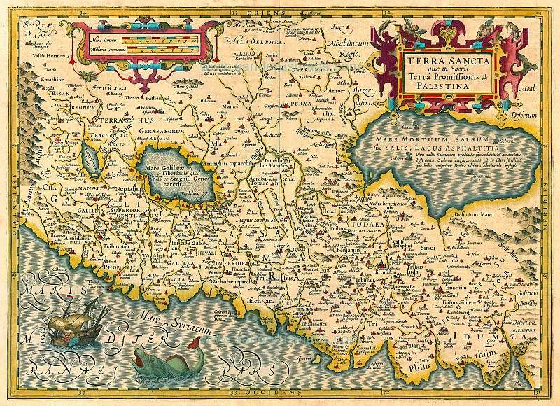 Jodocus Hondius - Holy Land, 1613-16. Antique world maps HQ