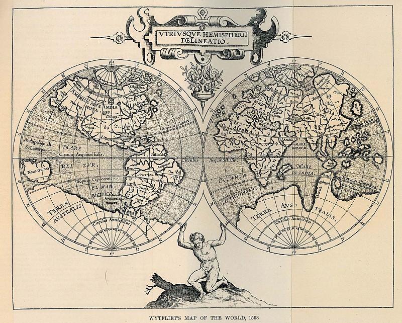 Cornelis van Wytfliet - Map of the World, 1598. Antique world maps HQ