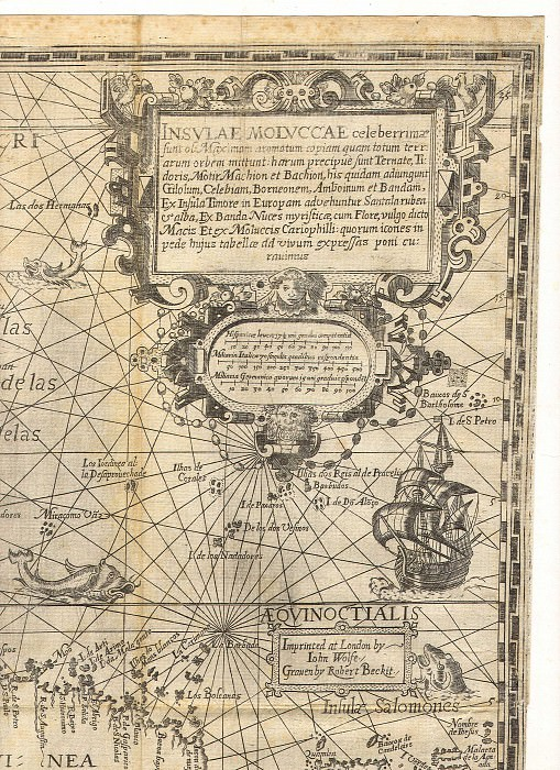 Jan van Linschoten - Spice Islands, 1598. Antique world maps HQ