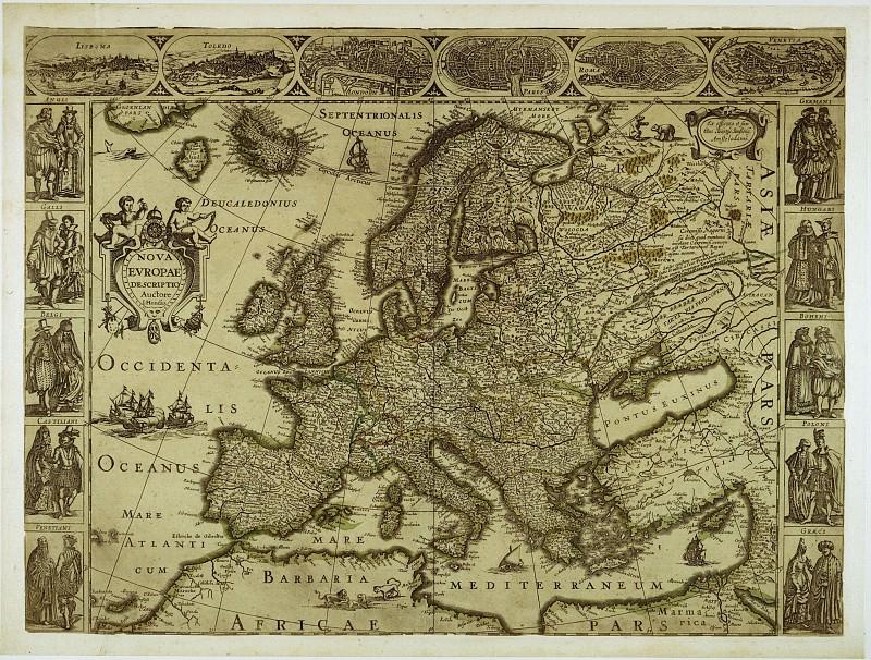 Карта Европы, конец 16 века. Древние карты мира в высоком разрешении - Старинные карты