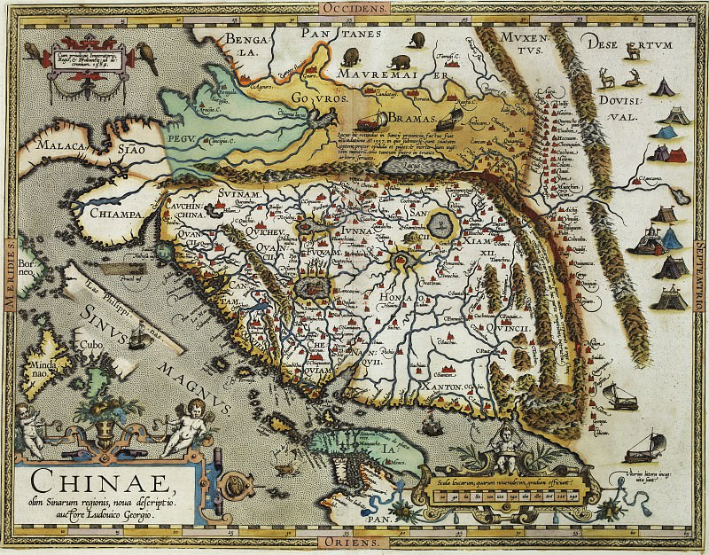 Абрахам Ортелий - Китай (справа север), 1584. Древние карты мира в высоком разрешении - Старинные карты