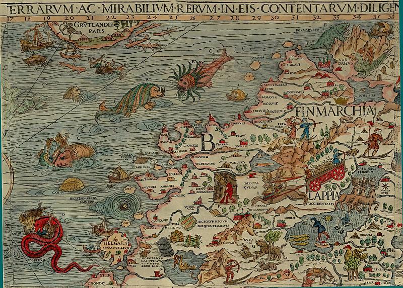 Olaus Magnus - Carta Marina, 1539, Section B: Lappland, Finland. Antique world maps HQ