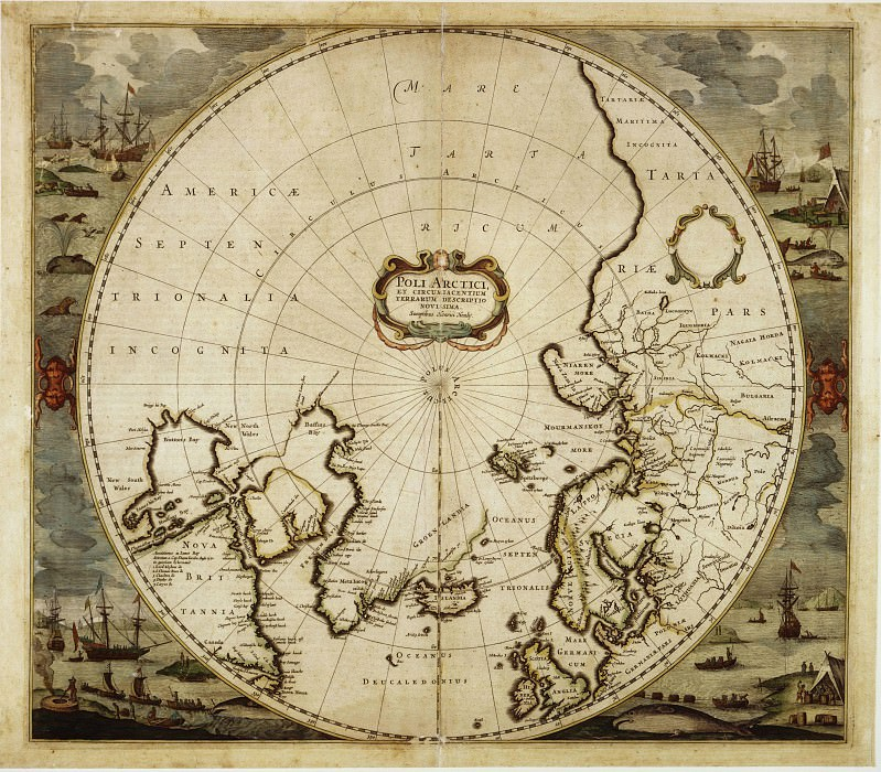 Hendrik Hondius - Pole arctique, 1636. Antique world maps HQ