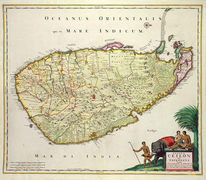 Nicolaes Visscher - Map of Ceylon, 1626. Antique world maps HQ