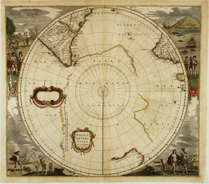 Hendrik Hondius - Map of South Pole, 1636. Antique world maps HQ