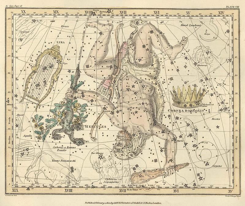 Corona Borealis, Hercules and Cerberus, Lyra. Antique world maps HQ