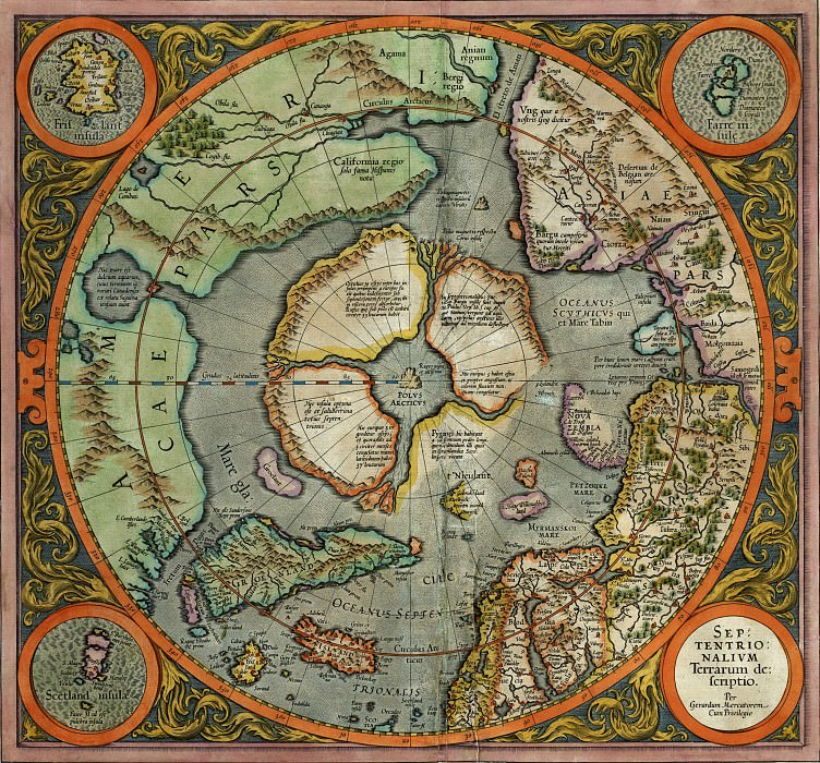 Mercator, Gerhard - First Map of the North Pole, 1569. Antique world maps HQ
