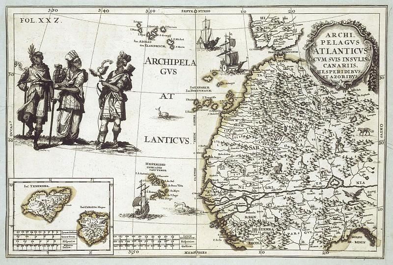 Шерер, Хайнрих - Азорские и Канарские острова, 1702. Древние карты мира в высоком разрешении - Старинные карты